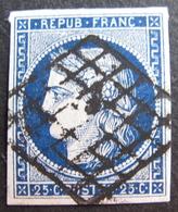 LOT R1749/49 - CERES N°4a Bleu Foncé - LUXE - GRILLE NOIRE - Cote : 75,00 € - 1849-1850 Ceres