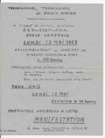 Affiche Appel à La Greve 13 MAI 1968 à Montceau Les Mines - Affiches