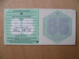 VIGNETTE  AUTOMOBILE 1985  ENTIERE - Revenue Stamps