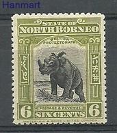 Borneo / North Borneo 1909 Mi 132 Mh - Mint Hinched ( PLZS8 NBR132 ) - Rhinozerosse