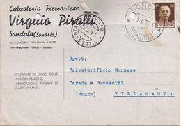 Commerciale 1937 - Calzoleria Piemontese Virgilio Piralli - Sandalo ( Sondrio ) - Negozi