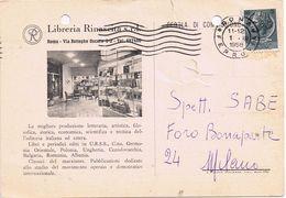 """Commerciale """"Libreria Rinascita"""" Via Botteghe Oscure - Roma 1958 - Difettata  ( Strappo E Buco )- Fori Di Archiviazione - Negozi"""