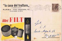 """Illustrata """" La Casa Del Trattore """" Parma Viale Mentana - Filtri FILT - 1958 - Forata - Negozi"""