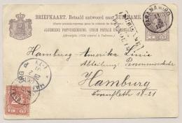 Suriname - 1901 - 5 Cent Willem III, Briefkaart G10A Met 2,5 Cent Cijfer Van Paramaribo - Via Plymouth - Naar Hamburg - Suriname ... - 1975