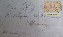 """LOT R1749/71 - CERES N°36 Sur LETTRE - Cachet AMBULANT """" MCM """" - CàD : GARE DE CHAMBERY > ANNECY - Cote : 250,00 € - 1870 Siege Of Paris"""