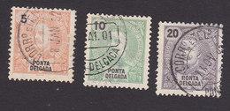 Ponta Delgada, Scott #14-15, 18, Used, King Carlos, Issued 1897 - Ponta Delgada