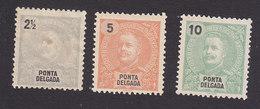 Ponta Delgada, Scott #13-15, Mint Hinged, King Carlos, Issued 1897 - Ponta Delgada