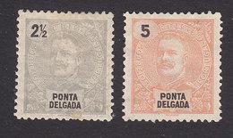 Ponta Delgada, Scott #13-14, Mint Hinged, King Carlos, Issued 1897 - Ponta Delgada