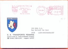 BELGIUM COVER 1983, Tintigny  Red Meter Cancel   Transports Penning Bus Autobus Autocar - Bus