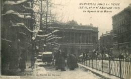 13 MARSEILLE SOUS LA NEIGE JANVIER 1914 SQUARE DE LA BOURSE - Marsella