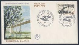 France Rep. Française 1967 FDC + Mi 1581 YT 1524 Sc 1180 - Grand Pont, Bordeaux / Aquitaine Road Bridge / Straßenbrücke - Bruggen