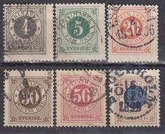 SCHWEDEN 1886 - MiNr: 29-37 Lot 6x Mit Posthorn  Used - Schweden