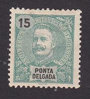 Ponta Delgada, Scott #17, Mint Hinged, King Carlos, Issued 1897 - Ponta Delgada