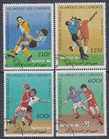 """Comores P. A. N° 229 / 32 O """"Mexico 86"""" Coupe Du Monde De  Footbal Les 4 Valeurs Oblitérations Légères Sinon TB - Comores (1975-...)"""