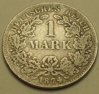 1874 - Allemagne - Germany - Empire - 1 MARK, (D), Argent, Silver, KM 7 - [ 2] 1871-1918: Deutsches Kaiserreich