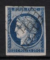 TIMBRE CERES N° 4 25c BLEU OBLITÉRÉ NI PLI NI AMINCI - BELLE OBLITERATION GRILLE + NUANCE FONCÉE - 1849-1850 Ceres
