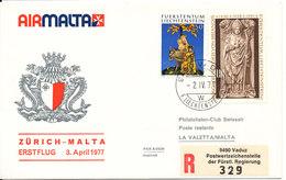 Liechtenstein Air Malta First Flight Zurich - Malta 2-4-1977 - Liechtenstein
