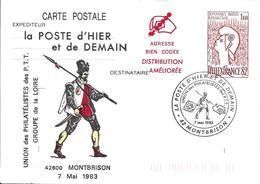 """CP1 - 2216 La Poste D'hier Et De Demain à Montbrison, Le 7-5-83 """"adresse Bien Codée, Distribution Améliorée"""" - Cartes Postales Repiquages (avant 1995)"""