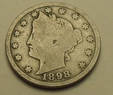 1898 - Etats Unis - U.S.A. - V CENTS, Liberty Nickel, CENTS Below Reverse, KM 112 - 1883-1913: Liberty (Liberté)