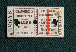 Billet Aller Retour  Montenvers Chamonix  Coll Schnabel - Chemins De Fer