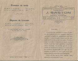 CLAIRAC J GASTON CONSERVES PRODUITS ALIMENTAIRES PRUNES D ENTE PRIX COURANT DEPART DE LA GARE ANNEE 1900 - France