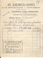 SAINT BRIEUC PETITE FACTURE ETS H DEROUARD CHARBONS BOIS DE CHAUFFAGE COKE ANTHRACITE ANNEE 1940 - Factures & Documents Commerciaux