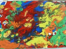 Tableau Acrylique Moderne Très Coloré, Formes Aléatoires. Technique Pouring - Acryliques