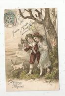 Cp, JOYEUSES PAQUES , Enfants , Fleurs ,lapin , Gaufrée ,voyagée 1906, Dos Simple , Serie 5058 - Pasqua