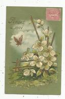 Cp, PENSEZ A MOI , Papillon , Fleurs ,illustrateur ,gaufrée , Voyagée 1906 - Altri