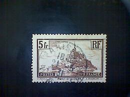 France, Scott #249, Used (o), 1930, Mont Saint Michel (Die I, Broken Spire), 5 Frs, Brown - France