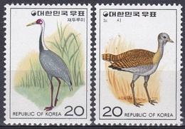 Südkorea South Korea 1976 Tiere Fauna Animals Vögel Birds Oiseaux Pajaro Uccelli Kranich Crane Trappe, Mi. 1025-6 ** - Korea (Süd-)