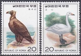 Südkorea South Korea 1976 Tiere Fauna Animals Vögel Birds Oiseaux Pajaro Uccelli Geier Vulture Schwan, Mi. 1066-7 ** - Korea (Süd-)