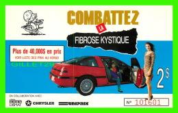 ADVERTISING - PUBLICITÉ - COMBATTEZ LA FIBROSE KYSTIQUE  - BILLET DE TIRAGE 1990 - AUTOMOBILE, PLYMOUTH/LASER 1990 - - Publicité