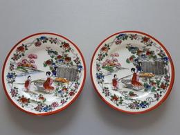 2 Assiettes Décoratives En Porcelaine Paysages Japonais  & - Otros