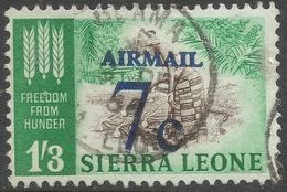 Sierra Leone. 1964-66 Decimal Currency Surcharges. 7c On 1/3 Air Used. SG 322 - Sierra Leone (1961-...)