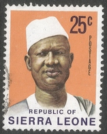 Sierra Leone. 1972 President Siaka Stevens. 25c Used SG 585 - Sierra Leone (1961-...)