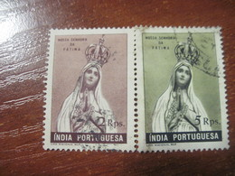 Portugese India 1949 Lady Of Fatima In Crown 2 And 5 Rupees USED - Portuguese India