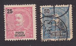 Ponta Delgada, Scott #20-21, Used, King Carlos, Issued 1897 - Ponta Delgada