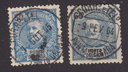 Ponta Delgada, Scott #21, 23, Used, King Carlos, Issued 1897 - Ponta Delgada
