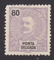 Ponta Delgada, Scott #26, Mint Hinged, King Carlos, Issued 1897 - Ponta Delgada
