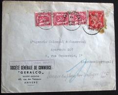 1945 LETTRE ANVERS > LISBONNE - PORTUGAL --- GRIFFE LANGUE EMPLOYEE NON INDIQUEE !! - 1935-1949 Petit Sceau De L'Etat