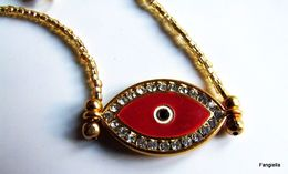 Collier Artisanal, Rouge Doré, Strass, Pendentif Oeil, Porte-bonheur, Perles Japonaises, Matsuno, Silver Lined Gold, Art - Ethniques