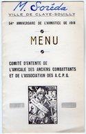 VP12.003 - MILITARIA - Menu - Ville De CLAYE SOUILLY - 54 E Anniversaire De L'Armistice De 1918 - Menus
