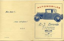 77 MELUN - Automobiles L.-J. LARONDE, 16 Rue Saint-Ambroise - Dépliant 4 Volets - Publicité LATIL Et MATHIS - (2 Scans) - Melun