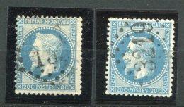 6924  FRANCE N° 29A° Et 29B°  20c  Bleu   Type I Et  II    Napoléon III   Lauré     1867 Et   1868    B/TB - 1863-1870 Napoleon III With Laurels