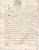 """GENERALITE DE LYON - RHONE - 1 SOL - PERIODE LOUIS XIV - LE 7 OCTOBRE 1677 - SIGNATURE DU NOTAIRE ROYAL """"BOISSON"""" - 3 PA - Cachets Généralité"""
