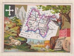 8AK960 CHROMO GEOGRAPHIQUE L'AIN BOURG BELLEY GEX NANTUA TREVOUX   2 Scans - Géographie