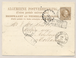 Nederlands Indië - 1887 - 7,5 Cent Willem III, Briefkaart G7 Van Kleinrond PROBOLINGO Via Marseille Naar Arnhem / NL - Nederlands-Indië