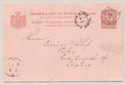 Nederlands Indië - 1892 - Briefkaart Van Soerabaja Met Stempel MARSEILLE A LYON SPECIAL Naar Leipzig / Deutschland - Nederlands-Indië