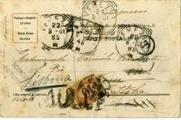 SEGNATASSE 10 Cent. Da Portogallo Portugal Per Venezia 1901 Annulli Di Venezia Con 3 Date Fb Di Partenza Asportato - 1900-44 Vittorio Emanuele III
